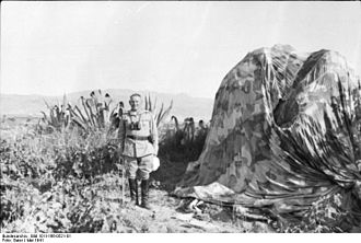 Hermann-Bernhard Ramcke - Ramcke next to a parachute, May 1941, Crete.
