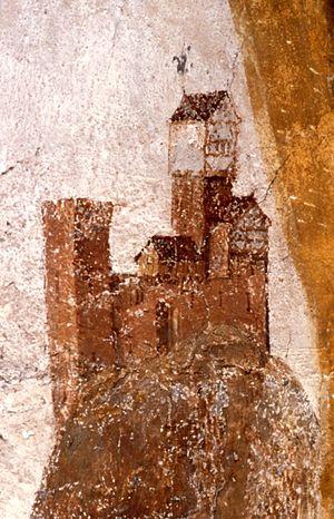 Hohenstaufen Castle - Fresco in Oberhofen Church, Göppingen, c. 1470