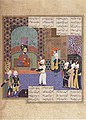Burzuy Presents the Book of Kalilah wa Dimnah to King Nushirvan, Illustrated leaf from the royal Shahnama of Shah Tahmasp, folio 649 ,.jpg