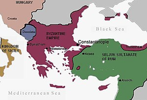 English: Byzantine empire before the Crusades ...