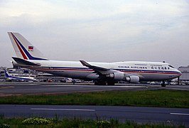China Airlines Boeing 747-409 (B-162) in Striped Livery.
