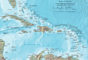 English: Map of the Caribbean by the CIA World...