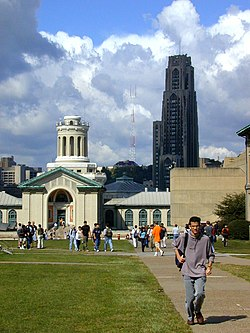 Carnegie Mellon University campus, with the University of Pittsburgh's Cathedral of Learning in the background.