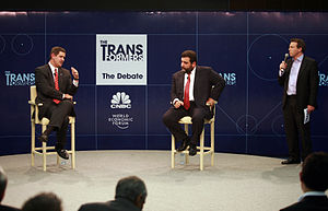 CNBC Europe - CNBC Europe anchor Geoff Cutmore moderates a debate at the 2008 World Economic Forum: New Champions meeting in Tianjin, China.