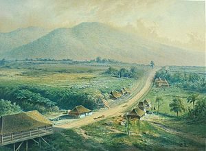 Heinrich Agathon Bernstein - A hospital in Gadok. Litho L.H. W. M. de Stuers 1865-1876