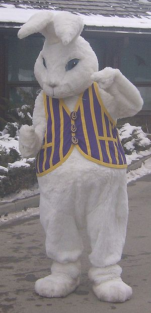 A person in an Easter Bunny costume at the &qu...