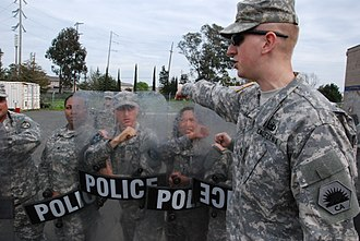 California State Military Reserve - California State Military Reserve Staff Sgt. Andrew Cater, the acting first sergeant of Alpha Company, Northern Regional Support Command, participates in a crowd control class.