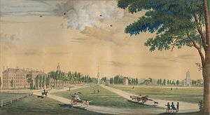 Cambridge Common - View of the Cambridge Common, ca. 1808-09, with Harvard College on the left and Christ Church on the right.