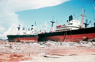 Hurricane Camille - Ships beached in Gulfport, Mississippi.