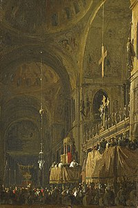 Canaletto (Venice 1697-Venice 1768) - The Crossing of San Marco looking to the North Transept on Good Friday - RCIN 400567 - Royal Collection.jpg