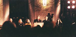 Bill Clinton presidential campaign, 1992 - Presidential candidate Bill Clinton in front of Rackham School at the University of Michigan on October 19, 1992, flanked by Michigan Senator Carl Levin, Hillary Clinton, Chelsea Clinton and Michigan Senator Donald W. Riegle, Jr.