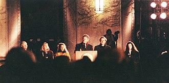 Horace H. Rackham School of Graduate Studies - Presidential candidate Bill Clinton in front of Rackham on October 19, 1992, flanked by Michigan Senator Carl Levin, Hillary Clinton, Chelsea Clinton and Michigan Senator Donald W. Riegle, Jr.