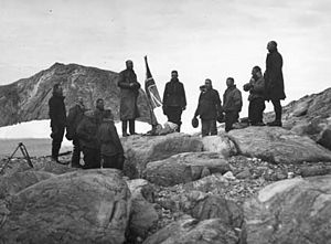 British Australian and New Zealand Antarctic Research Expedition - Douglas Mawson's team claim Mac. Robertson Land for the Crown during the BANZARE expedition