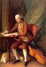 A painting of a man in a powdered wig writing at a desk.