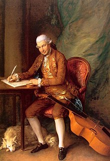 Painting of a man writing at a desk