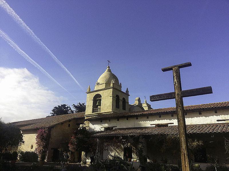 Carmel Mission Belfry and Cross.JPG