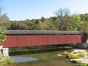 National Register of Historic Places listings in Owen County, Indiana - Image: Cataract Covered Bridge, southern side