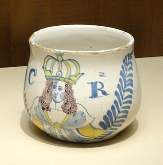 Caudle - An earthenware caudle cup depicting King Charles II of England, so circa 1660, held at Nelson-Atkins Museum of Art