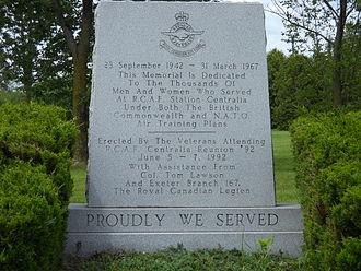RCAF Station Centralia - Monument inscription