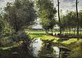 Cesar de Cock (1823-1904) Leielandschap of De weg naar het Patijntje in Gent (1863) MSK Gent 22-11-2015 .JPG