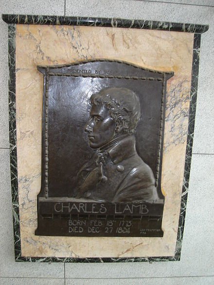 Portrait plaque of Lamb sculpted by George Frampton Charles Lamb1.JPG