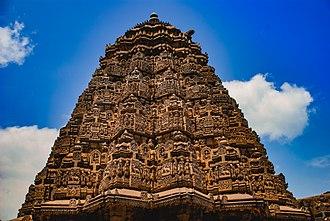 Chennakesava Temple, Somanathapura - The ornate tower with interim kalasa.