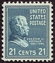 Historical 21-cent stamp with Arthur's profile.