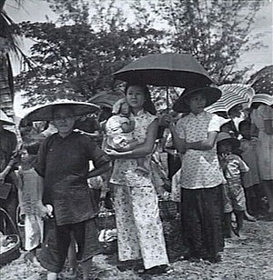 Ethnic Chinese in Brunei - Chinese women and children in Kuala Belait, 1945.