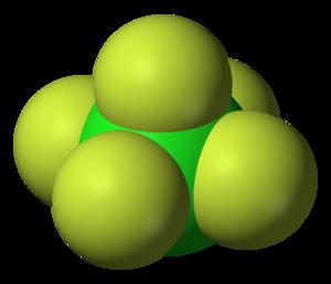 Chlorine pentafluoride - Image: Chlorine pentafluoride 3D vd W
