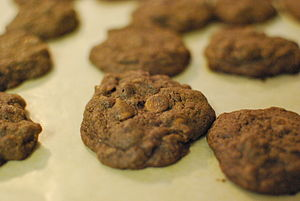 Chocolate Cookies with Milk Chocolate and Pean...