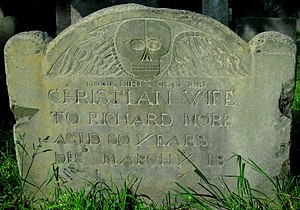 Richard More (Mayflower passenger) - Gravestone of Christian Hunter More, wife of Richard More, Salem MA.