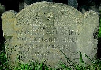 Richard More (Mayflower passenger) - Gravestone of Christian Hunter More, wife of Richard More, Salem MA.