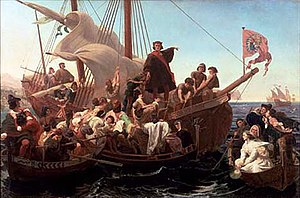 The West as America Art Exhibition - Christopher Columbus on Santa Maria in 1492 by Emanuel Leutze, (1855)