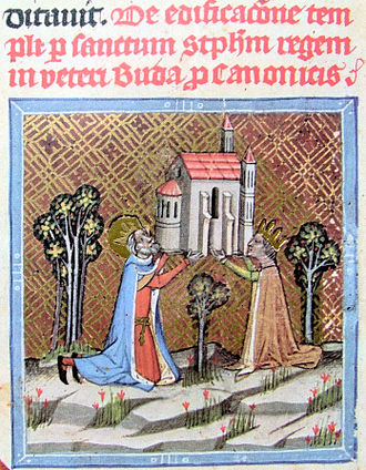 Gisela of Hungary - King Stephen and Queen blessed Gisela founding a church at Óbuda from the Chronicon Pictum