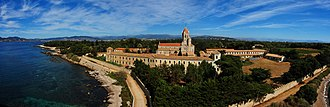 Lérins Abbey - Church and monastery of the Lérins Abbey. Panoramic picture taken from the fortified monastery.