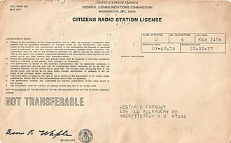 Citizens band radio - Image of Citizens Radio license 1972 issued by the United States Federal Communication Commission.