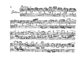 Partitas for keyboard (Bach) - Opening Praeludium from Partita No.1, BWV 825, first edition, 1731