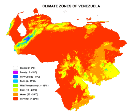 Venezuelan climatic types, according to their thermal floors ClimateZones Venezuela.png