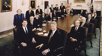 Presidency of Bill Clinton - President Clinton's Cabinet, 1993. The President is seated front right, with Vice President Al Gore seated front left.