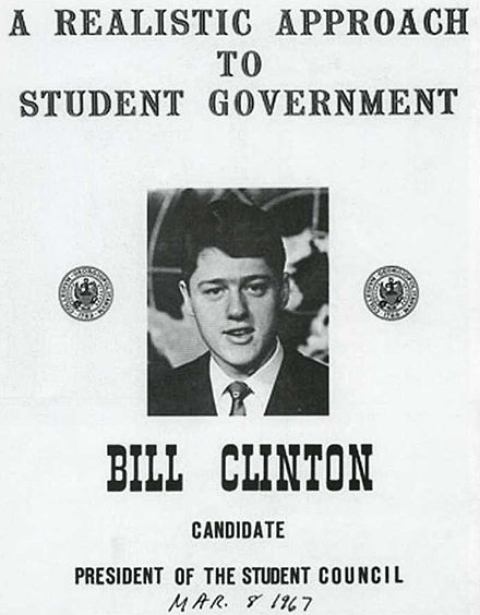 Clinton ran for president of the Student Council while attending the School of Foreign Service at Georgetown University. Clinton at Georgetown 1967.jpg