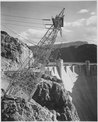 Close-Up Photograph of Boulder Dam Transmission Lines on Side of Cliff, ca. 1941 - NARA - 519850.tif