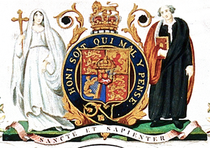 Coat of arms of King's College London - Image: Coat of Arms of King's College London (1829 1985)