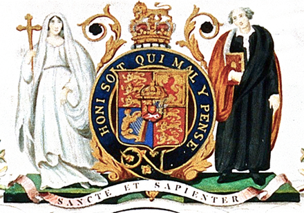 King's coat of arms used from 1829 to 1985 Coat of Arms of King's College London (1829-1985).png