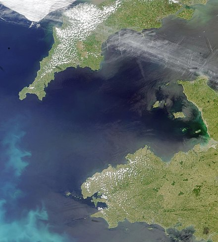 Satellite photograph of the western English Channel between south-west England and north-west France Coccoliths in the Celtic Sea-NASA.jpg