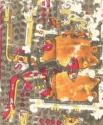 Xolotl - Codex Borgia (p. 47) a dog Xolotl accompanies an anthropomorphic avatar of Xolotl.