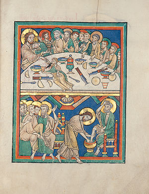 Transubstantiation - The Last Supper (upper image) and preparatory washing of feet (lower image) in a 1220 manuscript in the Badische Landesbibliothek