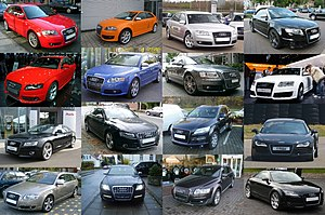 A collage of different Audi cars.
