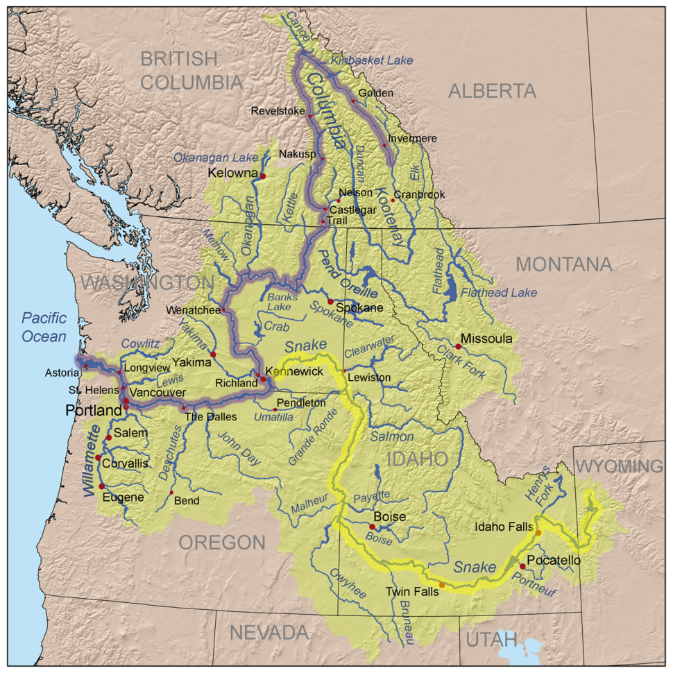 Columbiarivermapsnakeriverhighlighted