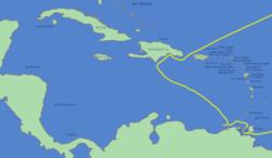 Tercer viaje de Col�n donde fue descubierta el 15 de agosto de 1498 el Estado de Nueva Esparta.
