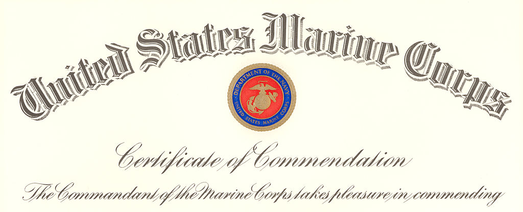 File commandant of the marine corps certificate of for Certificate of commendation usmc template